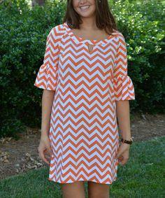 Another great find on #zulily! Orange & White Zigzag Notch Neck Dress #zulilyfinds