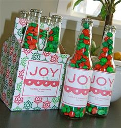 DIY Christmas Gifts; use pastel candies for gifts for the older silblings at a baby shower.