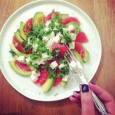 Grapefruit + Avocado Salad with Lime, Cilantro + Feta