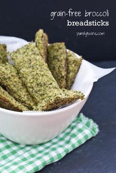 Grain-Free Broccoli Breadsticks add some cheese yummy 1 head of broccoli – chopped to make 4 cups 3 T nutritional yeast (could do some cheese if you would like) 1 T psyllium husk (can be omitted) 2 whole eggs t sea salt handful of fresh basil 2 T water Isagenix, Grain Free, Dairy Free, Gluten Free, Vegan Recipes, Cooking Recipes, Vegan Meals, Bread Recipes, Nutritional Yeast