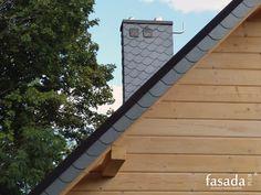 Łupek naturalny na kominie i na elementach wykonczenia dachu / http://kominy-obudowy.pl/o-obudowie