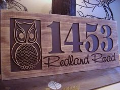 Carved Wooden Welcome Owl Address Sign Nature inspired Owl design Best Gift idea for nature and outdoor lovers! Carved Wood Signs, Custom Wood Signs, Wooden Welcome Signs, Wooden Signs, Router Projects, Wood Projects, Outdoor Wood Signs, Cnc Wood, Wood Router