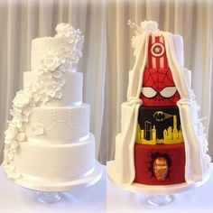This is the wedding cake created by Cupcakes by SJ for a cousin's special day. My cousins' most special day? Granted I'm not a huge fan of fondant (or. Superhero Wedding Cake, Superhero Cake, Avengers Wedding, Marvel Wedding Theme, Batman Wedding, Perfect Wedding, Our Wedding, Dream Wedding, Trendy Wedding