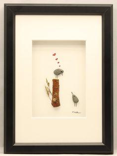 Pebble art picture love birds anniversary by PebbleartShop on Etsy