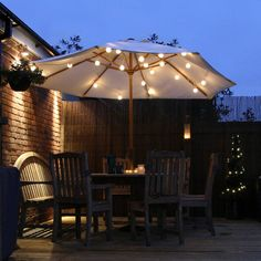 Solar Lights For Patio Umbrellas Impressive String Lights On The Patio Umbrellaso Easy And Pretty  House Design Inspiration