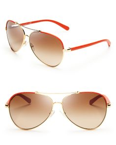 Tory Burch Signature Aviator Sunglasses | Bloomingdale's