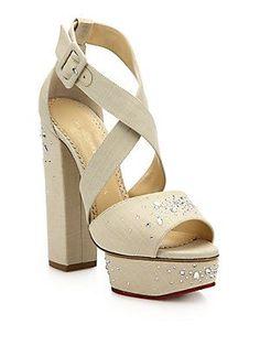 Charlotte Olympia Edna Embellished Platform Sandals - Natural - Size 3