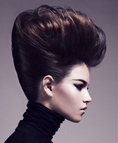 A Long Brown straight coloured multi-tonal volume updo womens hairstyle by Aveda