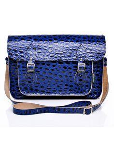Zatchels Blue Reptile Print Leather Satchel