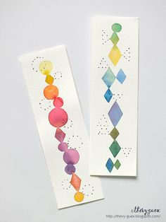 Abstract Geometric Dot Original Watercolor Painting Illustrated Rainbow Bookmarks - Rhombus Diamond Shape Circle Handpainted Bookmarks
