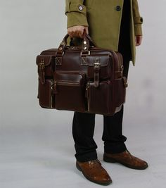 Image of Top Grade Cowhide Leather Men's Briefcase Laptop Bag Dispatch Shoulder Huge Duffle--FREE SHIPPING
