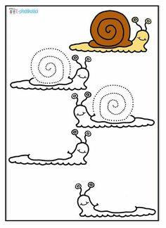 Draw the snails. Then, colour them. Speech Language Therapy, Speech And Language, Snail And The Whale, Bug Activities, Kindergarten Portfolio, Leo Lionni, Pre Writing, Eyfs, Art Lessons