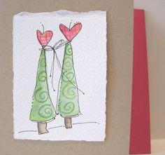"Watercolor  Card ""Together "" Original  With Envelope  betrueoriginalart"