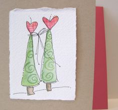Brown Kraft Style Card Stock Card With With Cute Red Envelope Blank, 4.25 x 5.5 With Envelope Handpainted Watercolor Original Art Is Painted