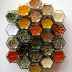 Hexagonal Organic herbs and spices by Gneiss Spice. You can stick each magnetized lid to the fridge or any other steel surface.  Via Saveur