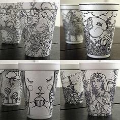 """Cheeming Boey AKA """"Boy Obsolete"""" Sharpie pen on styrofoam cup Sharpie Drawings, Sharpie Art, Sharpies, Coffee Cup Art, Coffee Cup Design, Drawing Lessons, Art Lessons, Drawing Art, Zentangle"""