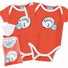 Thing One(1) and Two(2) onesies. Love the other themed items also, such as the pacifiers.