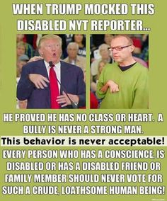 """Unfortunately, Trump supporters will find an explanation as to why this is perfectly acceptable behavior. """"He didn't mean it"""", """"he was just kidding..."""", blah, blah, blah."""