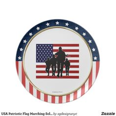 USA Patriotic Flag Marching Soldiers Silhouette Plate. #USA #American #Patriotic #Military #Plate