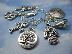 Ancient Mysteries Charm Bracelet- om, hamsa, tree of life, cross, ankh