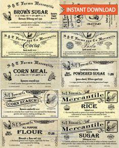 Vintage Pantry, Vintage Labels, Vintage Ephemera, Vintage Postcards, Spice Labels, Pantry Labels, Kitchen Canister Labels, Printable Labels, Printables