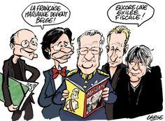 Un nouveau magazine a vu le jour samedi en Belgique : l'hebdomadaire satirique français Marianne a désormais une édition belge. Et Marc Large illustre ce nouveau venu dans un monde de la presse en crise avec humour.