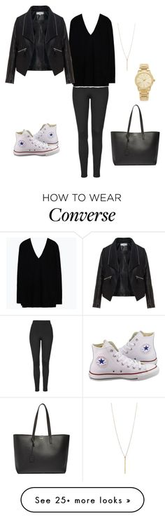 """""""Black leather and white converse"""" by early0118 on Polyvore featuring Converse, Topshop, Zara, Zizzi, Michael Kors and Yves Saint Laurent"""