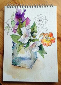 Line and Wash Flowers - Ann Mortimer Watercolor Sketchbook, Sketchbook Drawings, Pen And Watercolor, Watercolor Illustration, Watercolour Painting, Watercolor Flowers, Painting & Drawing, Watercolours, Sketching
