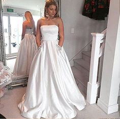 Dressylady 2017 Strapless Satin Prom Dress Long Evening Formal Gowns with Pocket at Amazon Women's Clothing store: