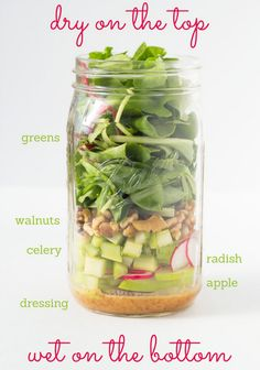 Mason Jar Salad - Fresh And Springy Walnut, Radish, And Apple Salad. We love all these salad ideas so check them out for an easy, healthy, energizing meal. Mason Jars, Mason Jar Meals, Meals In A Jar, Canning Jars, Healthy Salads, Healthy Eating, Healthy Recipes, Healthy Lunches, Healthy Fats