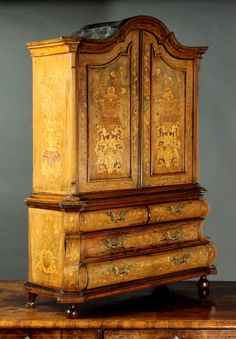 Antique miniature Dutch marquetry cupboard