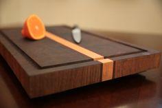 End grain cutting board. Walnut, maple and padauk