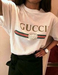 56cdba5f6a777c Supreme Logo Shirt, T Shirt Logo, Tee Shirts, Gucci Tee, Gucci Shirts