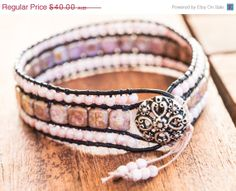 XMAS SALE Beaded Leather Wrap Bracelet, Triple Row Wrap Bracelet, Boho Wrap Bracelet, Amethyst and Pink Wrap Bracelet (7inch)