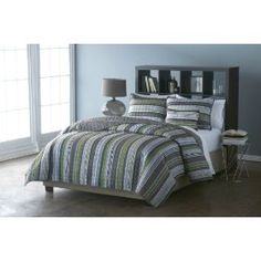 Victoria Classics Cambridge Quilt Set, 2-Piece :           This simple and beautiful quilt brings sleek contemporary style to your bedroom. Multi-color horizontal stripes in shades of gray, navy, and green run along the quilt's face and reverses to a contrasting pop of solid gray for easy versatility. The geometric quilting patter...
