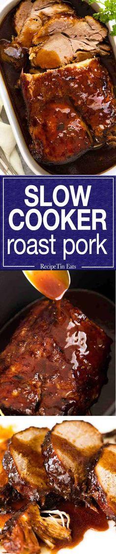 Slow Cooker Pork Loin Roast with an amazing Honey Butter Sauce