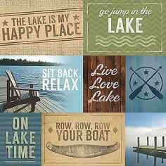 Paper House AT THE LAKE TAGS 12x12 Scrapbooking (2) Papers VACATION RELAX BOAT