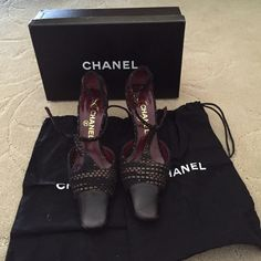 Authentic Chanel size 7 Black leather with woven detail. Size 7. Chanel shoes. With box and dust shoe bags. Worn 1x. CHANEL Shoes