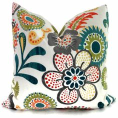 Orange, Turquoise and Green Mod Floral Decorative Pillow Cover, Accent pillow, Throw pillow, Made to order