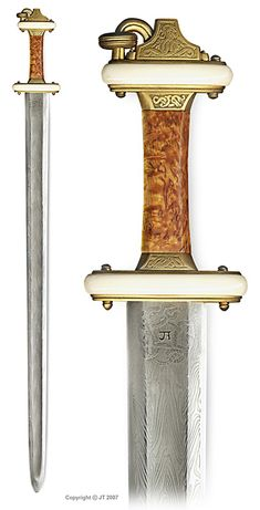 "A migration-period ""Ring-sword"" with damascus blade   Overall Length - 90.5 cm Length of Blade 75.0 cm - Width of Blade 4.7 cm - Width of Crossguard 9.5 cm - Overall Weight 1.015 kg - Point of Balancefrom crossguard 14.3 cm"