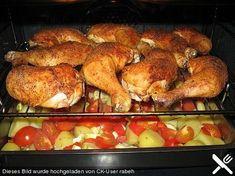 Hähnchenschenkel mit Ofen - Schmand - Gemüse