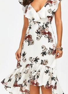 Plunging Floral Ruffle Backless Tea Length Dress - White M Elegant Dresses, Women's Dresses, Cute Dresses, Dress Outfits, Casual Dresses, Fashion Dresses, Short Sleeve Dresses, Dresses For Work, Summer Dresses