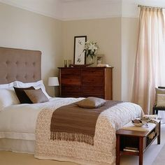 brown bedroom, white and cream, wood dresser