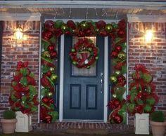 Mesh Ribbon Ideas | mesh ribbon door frame | Wreaths & Front door ideas