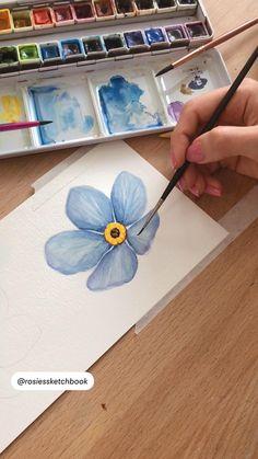 Watercolor Art Lessons, Watercolor Painting Techniques, Watercolor Paintings, Watercolour, Art Painting Gallery, Guache, Diy Canvas Art, Art Tutorials, Watercolor Flowers
