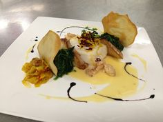 A great meal takes great ingredients: Roast Chilean sea bass, saffron fennel etouffée, sautéed spinach, ginger tuile, abalone mushroom and lobster beurre blanc. Top with red and golden beets for a colorful garnish!