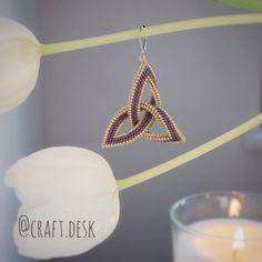 "Craft Desk on Instagram: ""💜 #celticknot #lifedeathrebirth #mindbodysoul #miyuki #beadedearrings #beading #منجوق_بافی #küpe #گوشواره #دستسازه#delicabeads#peyotestitch…"""