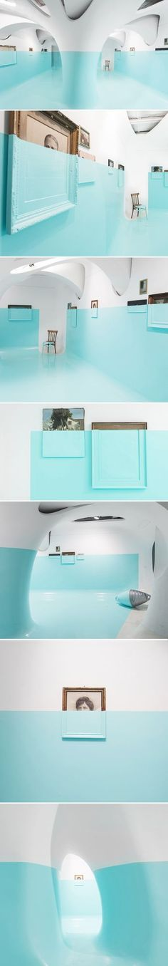 """If I was going to invite Wes Anderson and Steve Zissou out for an afternoon in Rome, I would absolutely bring them here! This """"Tiffany blue"""" dipped installation, that transformed the Ex Elettrofonica"""
