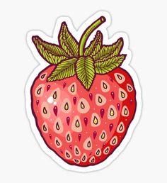 Stickers featuring millions of original designs created by independent artists. Stickers Cool, Food Stickers, Tumblr Stickers, Printable Stickers, Laptop Stickers, Planner Stickers, Journal Stickers, Strawberry Drawing, Strawberry Art