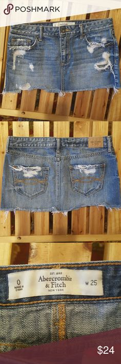 Abercrombie & Fitch NWOT Distressed Denim Denim mini, distressed. Brand new, never worn... Prefect for spring & summer 😎🌴 Abercrombie & Fitch Skirts Mini